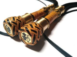 MATCHED PAIR  OF 4 FT 12 PLAIT BULLWHIPS