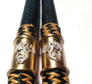 Matched Pair Bull  whips 4ft kangaroo leather - Coppia fruste bull whip intrecciate in canguro  (12)