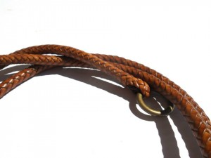 Braided plaited kangaroo hide dog leash - guinzaglio intrecciato in pelle di canguro (5)