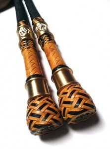 Matched Pair Bull  whips 4ft kangaroo leather - Coppia fruste bull whip intrecciate in canguro  (8)